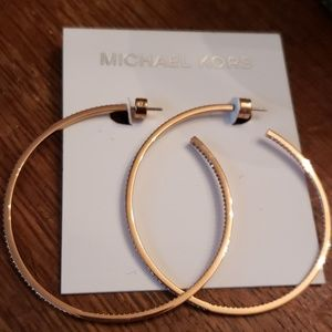 Michael Kors Nwt Gold Crystal XL Hoop Earrings